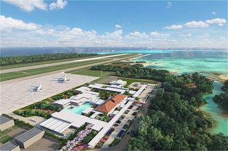 下地島空港旅客ターミナル施設の完成イメージ図(三菱地所提供)