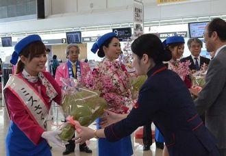 ミスさくら(左側)から、カンヒザクラの切り花をJAL・JTAの関係者に贈られた=17日午前、那覇空港