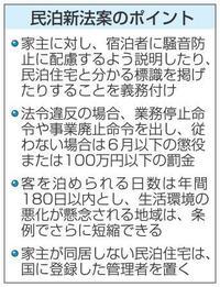 民泊新法案、近隣への配慮義務化 違反者には罰金100万円