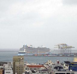 雨で靄っていますが、大型クルーズ船が停泊しているのが見えます