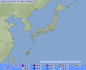震度1以上を観測した地点と地震の発生場所(震源)やその規模(マグニチュード)の情報(気象庁HPから)