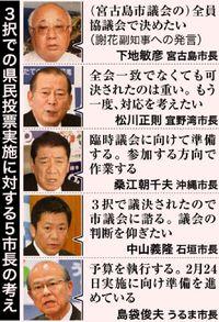 5市長 3択改正評価/うるまは実施明言/沖縄・石垣市も議会可決へ