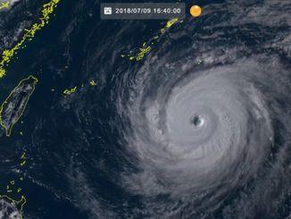 9日16時40分現在の台風8号(ひまわり8号リアルタイムwebから)台風の目がはっきり見える