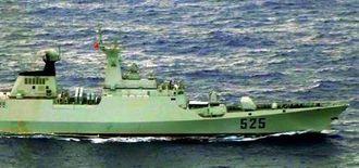2012年に公開された中国海軍のフリゲート艦(防衛省統合幕僚監部提供)