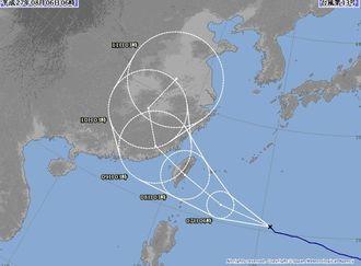 台風13号の進路予想図=6日午前6時現在、気象庁HPから