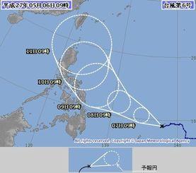 台風6号の進路予報図(気象庁ホームページから)