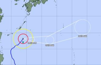 4月23日午後3時現在の台風経路図(気象庁HPより)