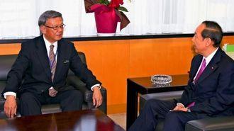 山口沖縄北方相(右)と会談する翁長雄志知事=2日午後、内閣府