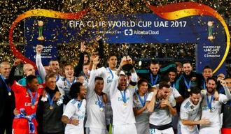 昨年のクラブW杯で2連覇を果たしたレアル・マドリード(スペイン)の選手たち=アブダビ(ロイター=共同)