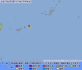 地震の震源(気象庁HPから)