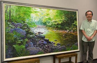 沖展「みんなの1点賞」に輝いた作品を沖縄タイムス社に寄贈した東光二さん