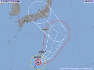 26日午前6時現在の台風12号の進路予想図(気象庁HPから)