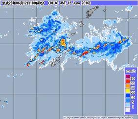 12日午後6時40分現在の沖縄本島の降水強度(気象庁HPより)