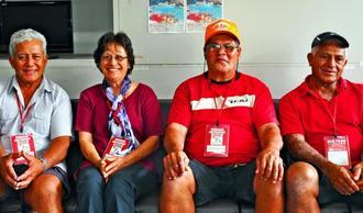 (右から)イケハラさん、ニシクマさん、サクモリさん=21日、那覇市・県庁記者クラブ