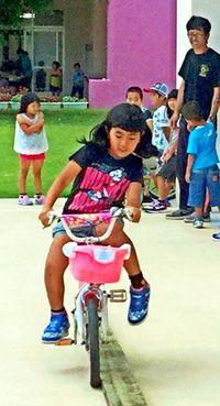 自転車上達へ教室 粟国小中