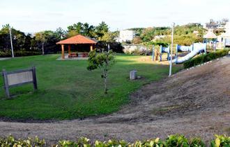 農薬を散布した斜面の草だけ枯れて茶色に変色している広場の芝生=浦添市仲間のANA SPORTS PARK浦添