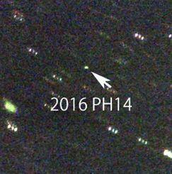 「美ら星研究体験隊」で八重山高校と普天間高校の生徒6人が観測した新天体候補の小惑星(石垣島天文台提供)