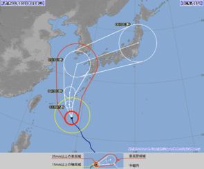 3日午前3時現在の台風18号の進路予想図(気象庁HPから)