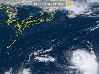 台風13号(5日9時30分現在、ひまわり8号リアルタイムWebから)