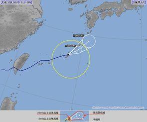 6月16日正午現在の台風6号の進路予想図(気象庁HPより)
