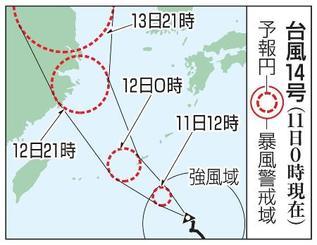 台風14号の予想進路(11日0時現在)