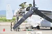 緊急着陸のオスプレイ、オイル漏れの点検続く
