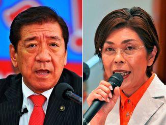 沖縄市長選に立候補した(右から)諸見里宏美氏と桑江朝千夫氏