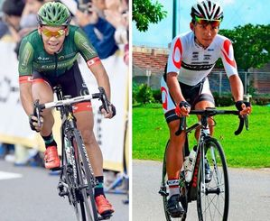 ロンドンに続き、リオ五輪の日本代表に選ばれた新城幸也(左)と、初の五輪出場を決めた内間康平