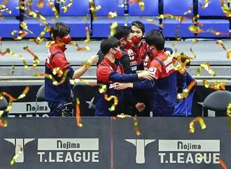 東京を破って初優勝を果たし、ベンチで大喜びする琉球の選手たち=アリーナ立川立飛