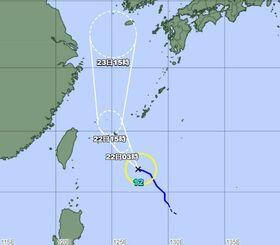 台風12号の8月21日午後3時時点の経路図(気象庁HPから)