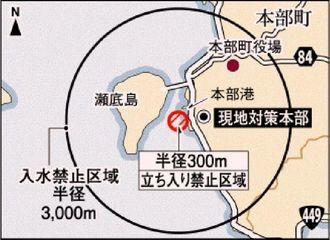 不発弾処理現場と立ち入り禁止・入水禁止区域
