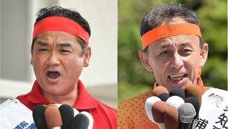 沖縄県知事選挙に立候補している(左から)佐喜真氏と玉城氏