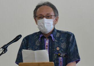 シルバーウィークを前に、新型コロナウイルス感染予防の徹底を呼び掛ける玉城デニー知事=16日、県庁
