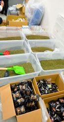 関係先から押収された大量の「脱法ドラッグ」(手前)や植物片、原料、道具など=6日、那覇市・那覇第一地方合同庁舎