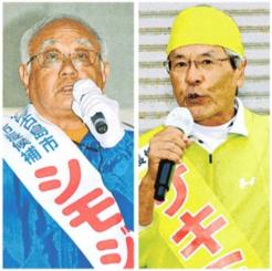 宮古島市長選に立候補している(右から)座喜味一幸氏、下地敏彦氏