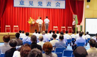 5人の少年が自立に向け決意表明した意見発表会=19日、糸満市真栄平・沖縄少年院