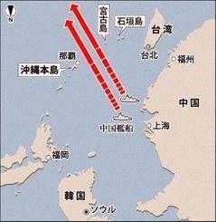 防衛省幹部の説明を基に作成した沖縄周辺の地図。一般の地図とは南北が逆で、中国から沖縄諸島がどのように見えるか強調している。