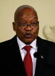 辞任を表明する南アフリカのズマ大統領=14日、南アフリカ・プレトリア(ロイター=共同)