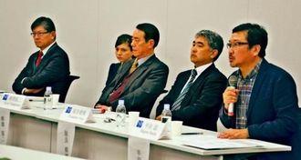 在沖米海兵隊は抑止力になっていないと指摘する(右から)半田氏、屋良氏、柳澤氏、(一人おいて)モチヅキ氏=13日、衆院議員会館