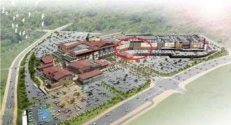 総賃貸面積の拡大が計画されているイオンモール沖縄ライカム。ピロティ駐車場のある赤線で囲んだ部分で計画されている(イオンモール提供)