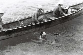 舟の上で水中めがねを掛けている1人と、海中で魚を突いた銛を持つ1人はともに少年漁師のようだ。糸満の漁業史に詳しい上田不二夫さんら複数の人が、「糸満売り」されてきた「雇い子の可能性がある」と指摘している(写真は朝日新聞提供)