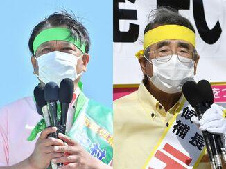 立候補を届け出た中村正人氏(左)と照屋寛之氏(右)