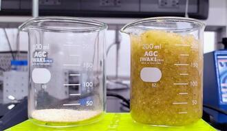 10グラムのエコポリマー(左)と、10グラムに200ミリリットルの水を加えた時のエコポリマー。吸水性があり、ビーカー内でゼリーのように固まっている(ラジプット氏提供)