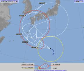台風14号の進路図(気象庁HPから)
