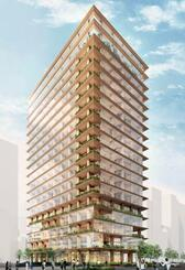 三井不動産と竹中工務店が建設予定の木造賃貸オフィスビルの完成予想図(両社提供)