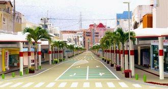 2021年度から相互通行となる予定のパークアベニュー通りのイメージ図(沖縄市提供)
