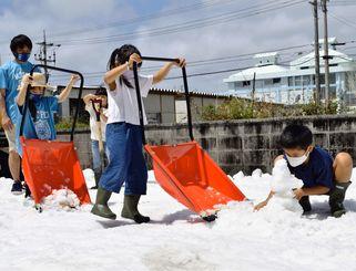 北海道から運ばれた雪で遊ぶ子どもたち=3月27日、北谷町北谷