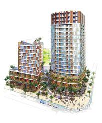 再開発の施設完成イメージ図。商業・住居棟(右)とホテル棟の間には緑ヶ丘公園に続くガレリアが整備される(提供)