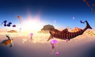 機内のバーチャルリアリティーで体験できる幻想的な3D映像(JTA提供)