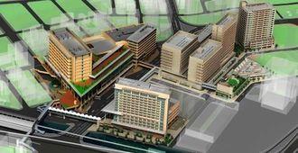 モノレール旭橋駅周辺の再開発地区イメージ図。手前が駅で、左上の建物が建設予定の那覇バスターミナルビル(旭橋都市再開発提供)